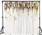 WaW Fondale fotografico fiore muro sfondo matrimonio fotografia sfondo tenda bianca Sfondi fiore rosso fondali foto Studio sfondi in microfibra (3x3m, tende5)