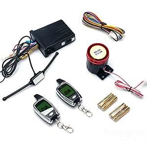 Versand kostenlos) Alarm, bidirektional, mit 2 Fernbedienungen mit LCD-Display für Motorrad/Two-way/Motorrad Alarm System with Two Remote Controls LCD