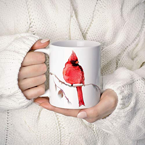 Mike21Browne Rote Kardinal-Vogel-Kaffeetasse 11oz Kaffeetasse Einzigartige Keramik-Kaffee- und Teetasse perfekte Geschenkartikel -
