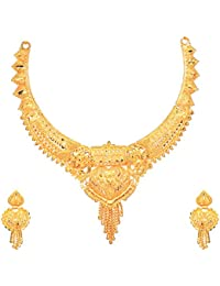 Mansiyaorange Wedding Party Collection Jewellery Neckalce Sets for Women (One Gram Golden)