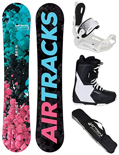 Airtracks Damen Snowboard Set - Board Polygonal 148 - Softbindung Master W - Softboots Savage W 39 - SB Bag (Kunststoff Snowboard Mit Bindungen)