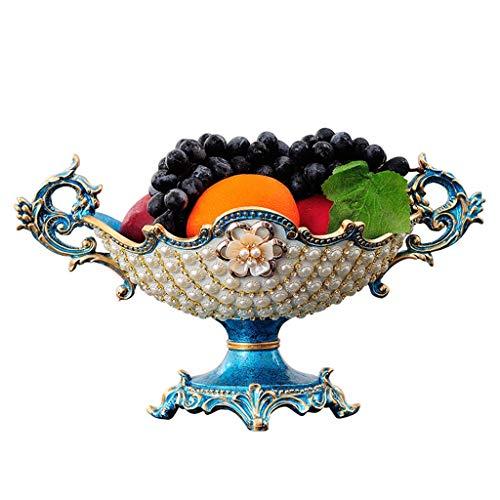 JXLBB Bleu Perle Européen Créatif Haut Bol De Fruits Américain Style Salon Table Basse Décoration De La Maison Décoration De Luxe Ensemble Plateau De Stockage De La Lampe Aladdin's Lamp