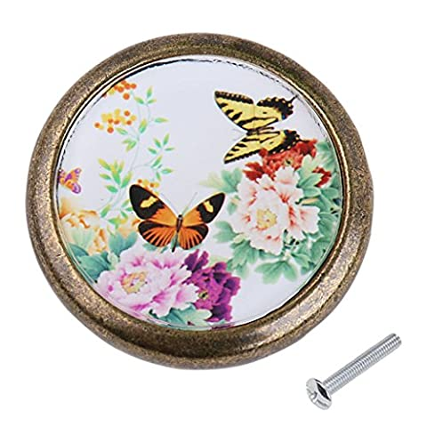 MagiDeal Antique Brass Round Cabinet Door Drawer Bin Handle Pull Knob Hardware Peony and Butterfly Pattern