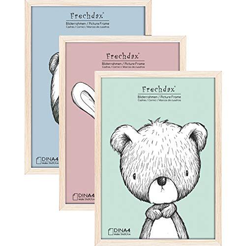 Frechdax® 3er Set Bilderrahmen 21x30 A4 Holz Rahmen für Kinderzimmer Poster schwarz   Weiss   Natur (Natur, A4 (21x30cm) / 3 Stück)