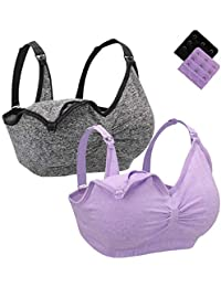 4a73f8050f Leezepro Nursing Bra Womens 2 Pack  3 Pack Padded Soft Cups Seamless Sleep Bras  for