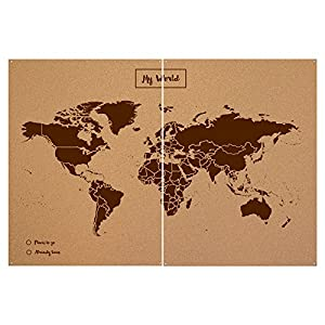Miss Wood Woody Map XXL – Mapa del mundo de corcho con diseño My world , color marrón