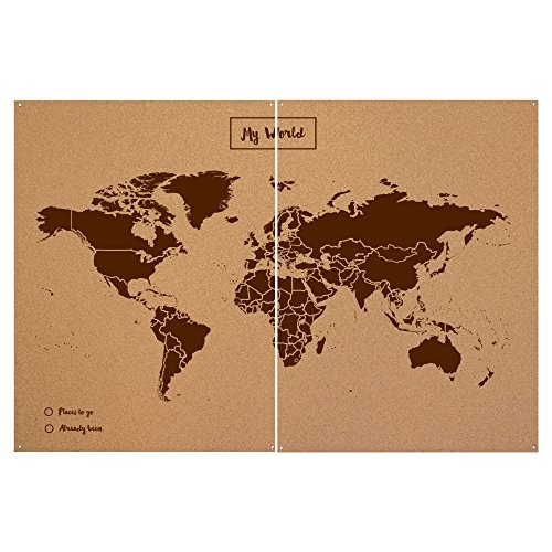 Miss Wood Woody Map XXL - Mapa del Mundo de Corcho con diseño My World, Color marrón