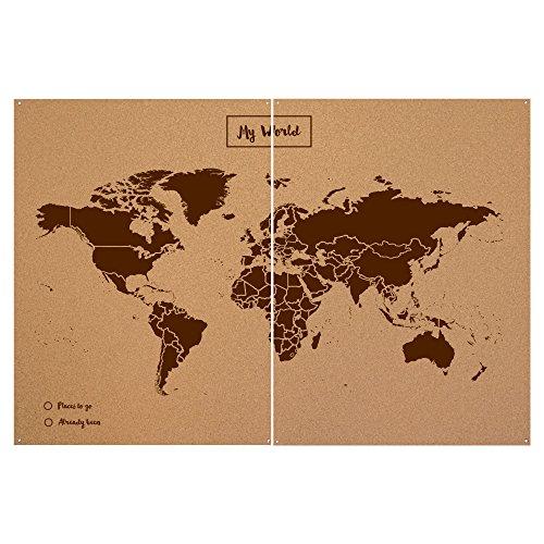 Miss Wood Woody Map XXL - Mapa del mundo de corcho con diseño My world , color marrón