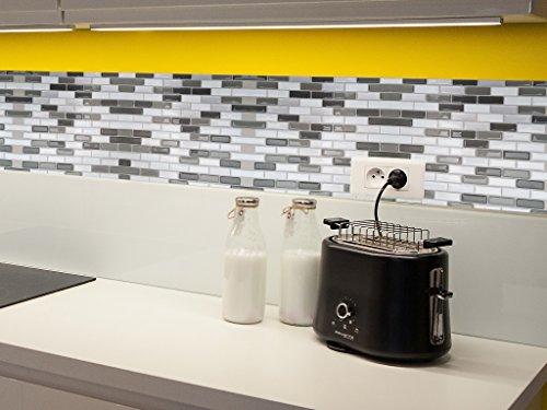 Carrelage Adhésif Mural PVC 3D Relief Rectangles Tons Gris 25x30,5cm