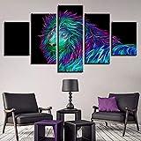 Gjyddvs Immagini astratte incorniciate Modulari 5 Pezzi Animali Colorati Lion Poster Decor Soggiorno Muro HD Stampato Arte Pittura su Tela