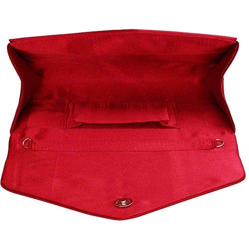 TrendStar Frauen Stilvoll Prom Party Hochzeit Taschen Damen Abend Kupplung Handtasche Satin Rot