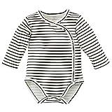 Pinokio - Happy Day- Baby Wickelbody 100% Baumwolle, Schwarz Weiß gestreift - Body - Langarmbody mit Druckknöpfen Mädchen Jungen Unisex Streifen (62)