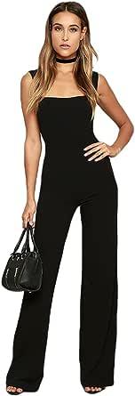 YiLianDaD Donna Manica Corta Partito Jumpsuit Eleganti Puro Colore Tuta con Lungo Pantaloni