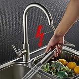 Auralum Niederdruck Küche Wasserhahn mit ausziehbarem Brause | Die Küchenarmatur ist Schwenkbar und für jede Küche und Spüle geeignet