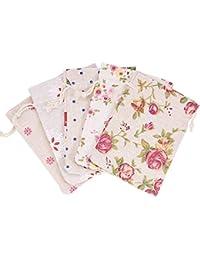 NBEADS Bolsas de Yute con Cordón de Impresión Floral, 25 Unidades, Bolsas de Regalo para Boda, Fiesta, Navidad,…