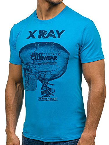BOLF Herren T-Shirt Tee Kurzarm Kapuze Classic Aufdruck Print Motiv 3C3 Slim Blau_5012