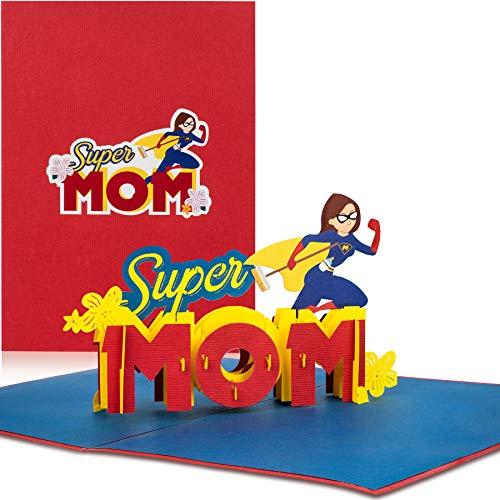 PaperCrush® Pop-Up Karte Super Mom - Lustige 3D Geburtstagskarte für die beste Mama der Welt - Glückwunschkarte zur Geburt, Babyshower Geschenk, Geburtskarte für Mutter inkl. Umschlag