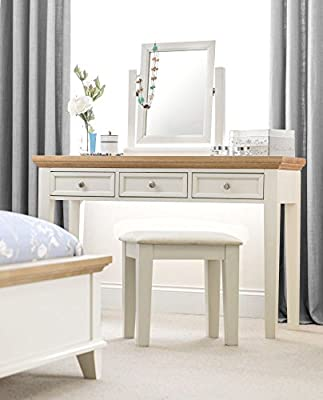 Happy Beds Portland Stone White and Oak Wooden Dressing Table Drawers Furniture - low-cost UK light shop.