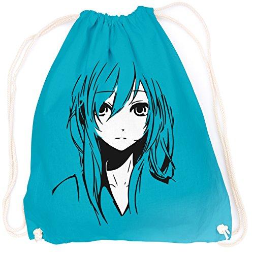 vanVerden Sport Turnbeutel Blue Anime / Manga Girl / Comic inkl. Geschenkkarte, Color:Surf Blue (Helles Blau) (Helles Geburtstag Geburtstag T-shirt)