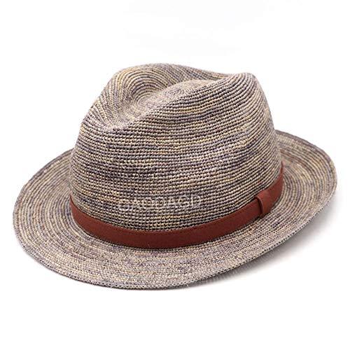 FWJ Strohhut Sonnenhut Rollbar Faltbare Diskette UV-Schutz Panamahut Damen Handgewebte Strandkappe für die Reise Beach Shopping,Gray