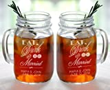 Eat Drink and Be Married Set of 2 Personalized Mason Jars Drinking Mugs with Handle Mr and Mrs Custom Etched with Name and Date for Wedding, Engagement Anniversary Bridal Party Gift of Favor for Newlyweds Couple Etched Laser Engraved His and Hers Couple Gift Idea Barn Wedding Theme for Couple