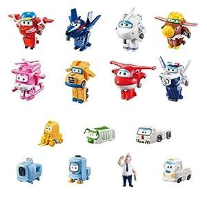 Super Wings  - Juego de coleccionista con 15 Figuras de Juguete de Transform-a-Bots World Airport Crew, Serie 2, de 5,08 cm