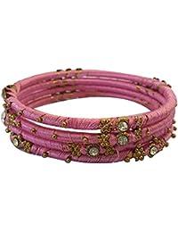 NK Creations Silk Thread Bangle Set For Women (Size: 2.6, NK Creations Silk Thread 1--2.6) - B078M455DC