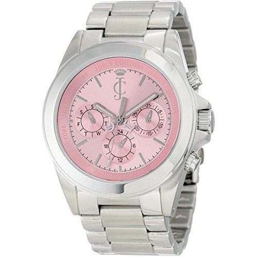 JUICY COUTURE 1900902 - Reloj analógico de cuarzo para mujer con correa de acero inoxidable, color plateado