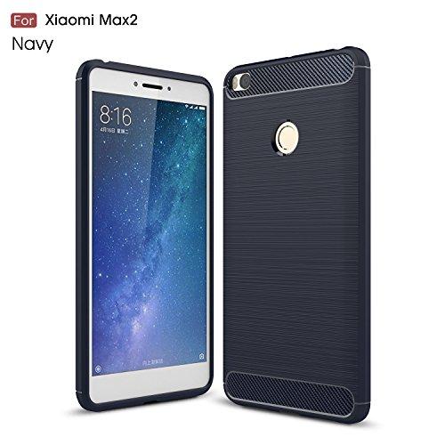 Xiaomi Mi Max2 Funda Regalos Cristal Vidrio Templado,xinyunew Carcasa Case TPU Fibra de carbon Dibujo Funda para Xiaomi Mi Max2(Marina)