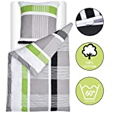 Beautissu Bettwäsche 155x220 cm Dana - gestreift mit Reißverschluss 100% Baumwolle - Bettbezug mit 80x80 cm Kissenbezug