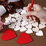 Homemaxs 130 Stücke Herz Holz Scheiben für Geschenkbox DIY enthalten Holz Herzform Scheiben und rote Scheiben für Hochzeit, DIY Craft Verzierungen … Test