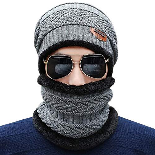 Männer Soft Beanie Hut Schal Set Stricken Hut Warme Dicke Wintermütze,Gray