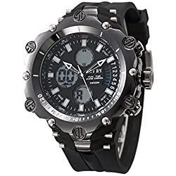 OOFAY Watch® Geschenk Mens Military Schwarz Big Dial Rubber Band Water Resistant Sportuhren