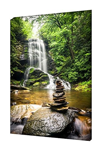 Homedeco-24 - Wandbild Leinwand, Wasserfall Hochformat 65 x 100 cm