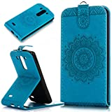 Kompatibel mit Galaxy S3 Mini Hülle,Galaxy S3 Mini Schutzhülle,Prägung Floral Spitze Blumen Mandala PU Lederhülle Flip Hülle Handyhülle Ständer Tasche Wallet Case Schutzhülle für Galaxy S3 Mini,Blau