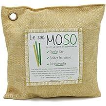 Le Sac MOSO - Purificateur d'air, Désodorisant, Absorbeur d'humidité, Naturel et sans odeur au Charbon de Bambou - 200 Gr - Paille