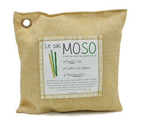 Le Sac MOSO (Die Moso Tasche) Version 200GR - Natürliche Luftreiniger , Deodorant, Feuchtigkeitsabsorber , geruchlos - gefertigt aus 100% Bambuskohle - 200 Gr Beige