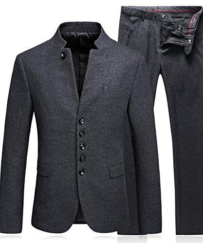 MOGU Herren Modern Multiple Einreiher 2 Stück Anzug Tweed Blazer Jacke, Hose (Asia 3XL) DE 48