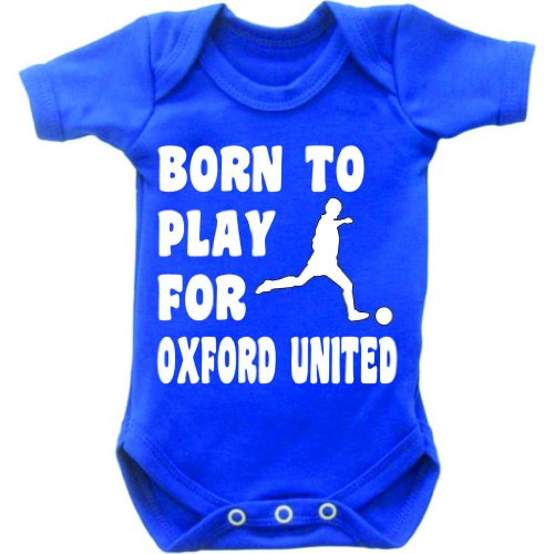 Born To Play Football For Oxford United Short Sleeved Baby Bodysuit Romper Vest Grow In Royal Blue & White Motif