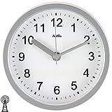 AMS 5926–Orologio da parete orologio tavolo Baduhr da bagno radio silbern impermeabile