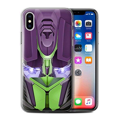 Stuff4 Gel TPU Hülle / Case für Apple iPhone X/10 / Opta-Bot Grün Muster / Roboter Kollektion Opta-Bot Grün