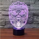 Dwthh Kreative 3D Led Nachtlicht Usb 7 Bunte Visuelle Motorrad Helm Maske Schreibtisch Leuchtende Beleuchtung Wohnkultur Schlaf Leuchten Geschenke