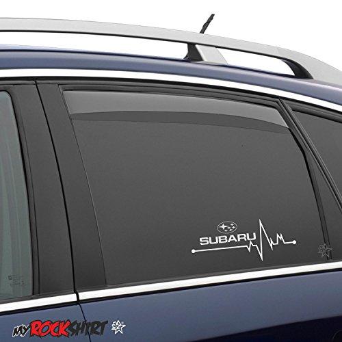 2 x Herzschlag Aufkleber 20x7 cm Subaru für Scheibe, Lack, Hochleistungsfolie, UV& Waschanlagenfest`+ Bonus Testaufkleber
