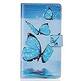 ISAKEN Galaxy J3 Hülle, Folio PU Leder Flip Cover Brieftasche Wallet Case Ledertasche Handyhülle Tasche Schutzhülle Hülle Etui für Samsung Galaxy J3 / J3 2016 - Schmetterling Blau