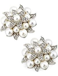 ElegantPark Fashion Pearls Rhinestones Flowers Crystals Wedding Party Shoe Clips