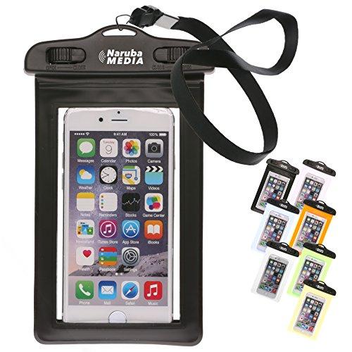 Naruba Media Waterproof | wasserdichte Handyhülle für alle Smartphones bis zu 6 Zoll |19,5 x 11,5 x 1,2 cm| inklusive Gurt und Schnellverschluss |Schwarz