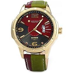 Leopard Shop Julius Men Business Quartz Watch Date Leather Strap Golden Green