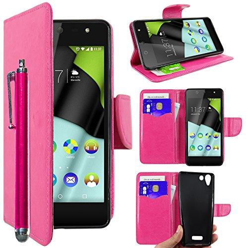 ebestStar - Wiko Selfy 4G Hülle Kunstleder Wallet Case Handyhülle [PU Leder], Kartenfächern, Standfunktion + Stift, Pink [: 141 x 68.4 x 7.7mm, 4.8'']