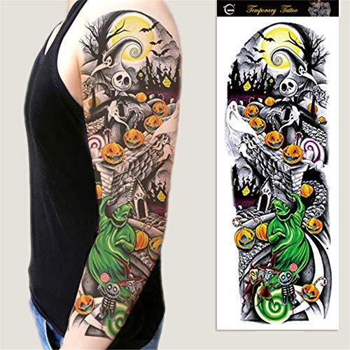 Tzxdbh 3pcs- adesivi braccio tatuaggi fiore pieno spalla tatuaggio maniche corpo vernice roses halloween morte teschio zucca anima black fire 3pcs-