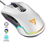 VicTsing Mouse Gaming RGB Mouse da Gioco Retroilluminato Regolabile, Programmabile ad Alta Precisione, 6 DPI Fino a 7250 DPI, Ottico, Mouse Ergonomico per PC, Computer, Laptop, Desktop (Bianco)